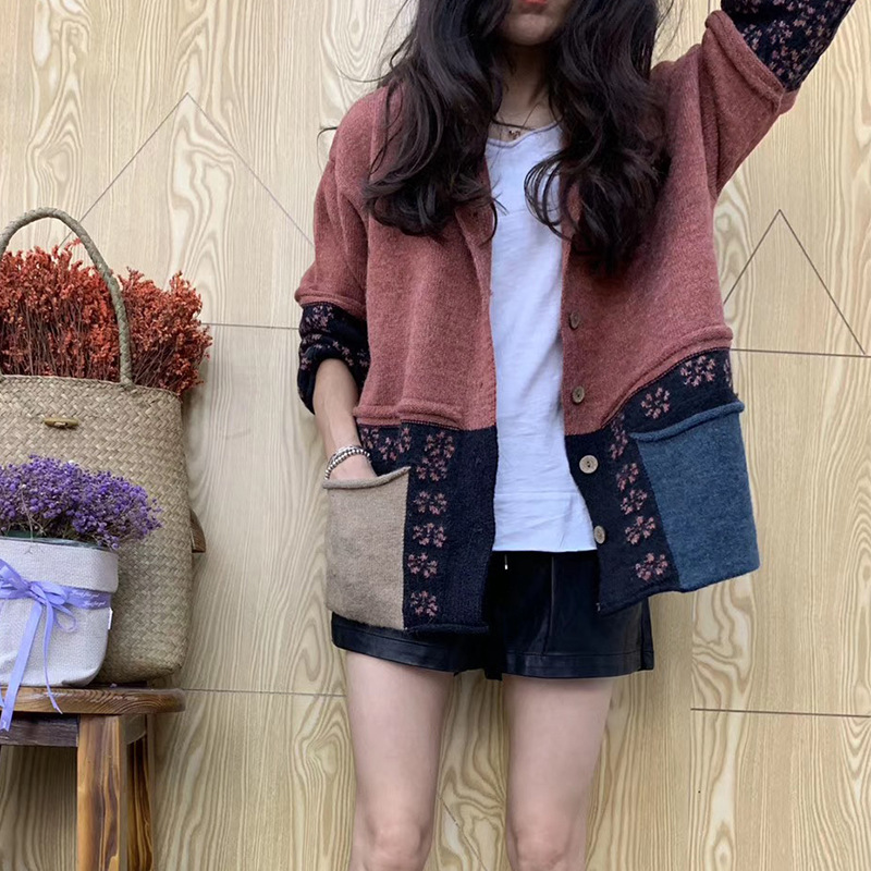 Women Vintage Sweaters Loose Autumn Winter Knitting Jackets Tops Casual Panelled Pocket Ladies Cardigan Sweater Coat