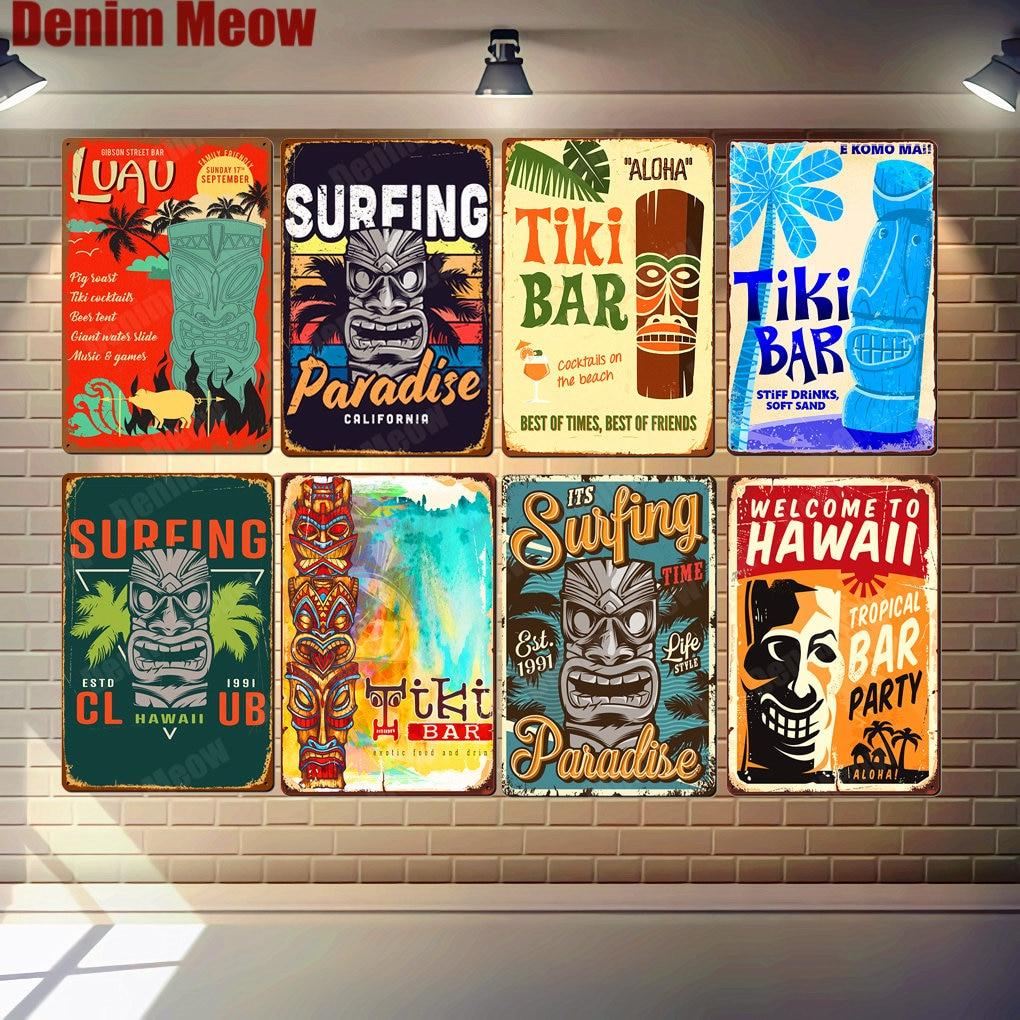 Welcome To HAWAII Plaque Beach Bar Vintage Metal Tin Signs Bar Pub Cafe Home Decor Wall Art Stickers Tiki Bar Poster N327(China)