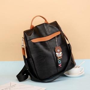 Image 2 - 2020 nouvelle marque concepteur en cuir dames sac à dos sauvage qualité anti vol sac dames adolescent dames voyage sac de luxe sac à dos Mochil