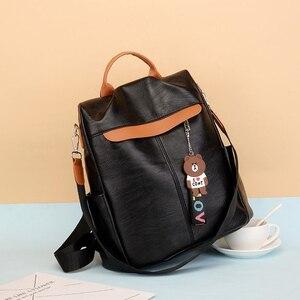 Image 2 - 2020 جديد العلامة التجارية مصمم جلدية السيدات البرية ظهره جودة مكافحة سرقة حقيبة السيدات التين السيدات سفر حقيبة الفاخرة على ظهره Mochil