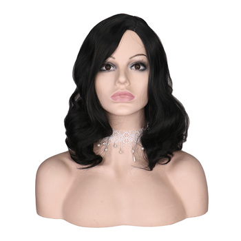 QQXCAIW Short Curly Wig For Black Women Natural Black Cosplay Party Costume Heat Resistant Synthetic Hair Wigs fashion cheap short cosplay wig men heat resistant synthetic hair halloween costume party wigs peruca free wig cap