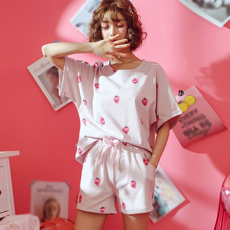 Pink Pajamas Set Summer Sweet Strawberry Printed 2 Pcs Sleepwear Suit Casual Round Neck Short-Sleeved Top And Shorts Suits