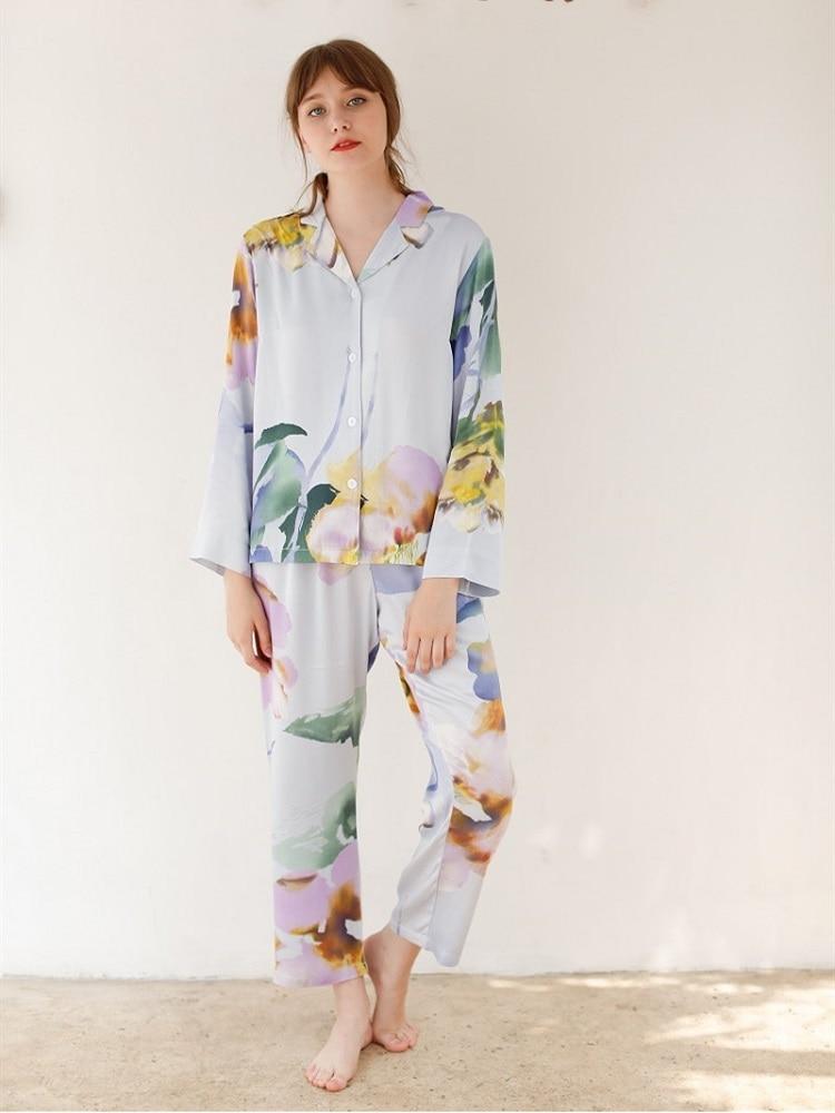 Causal Ocean Print Viscose Women's Long Sleeve Pajama Sets Long Pants Multicolor Fashion Sleepwear Spring Autumn Night Suits