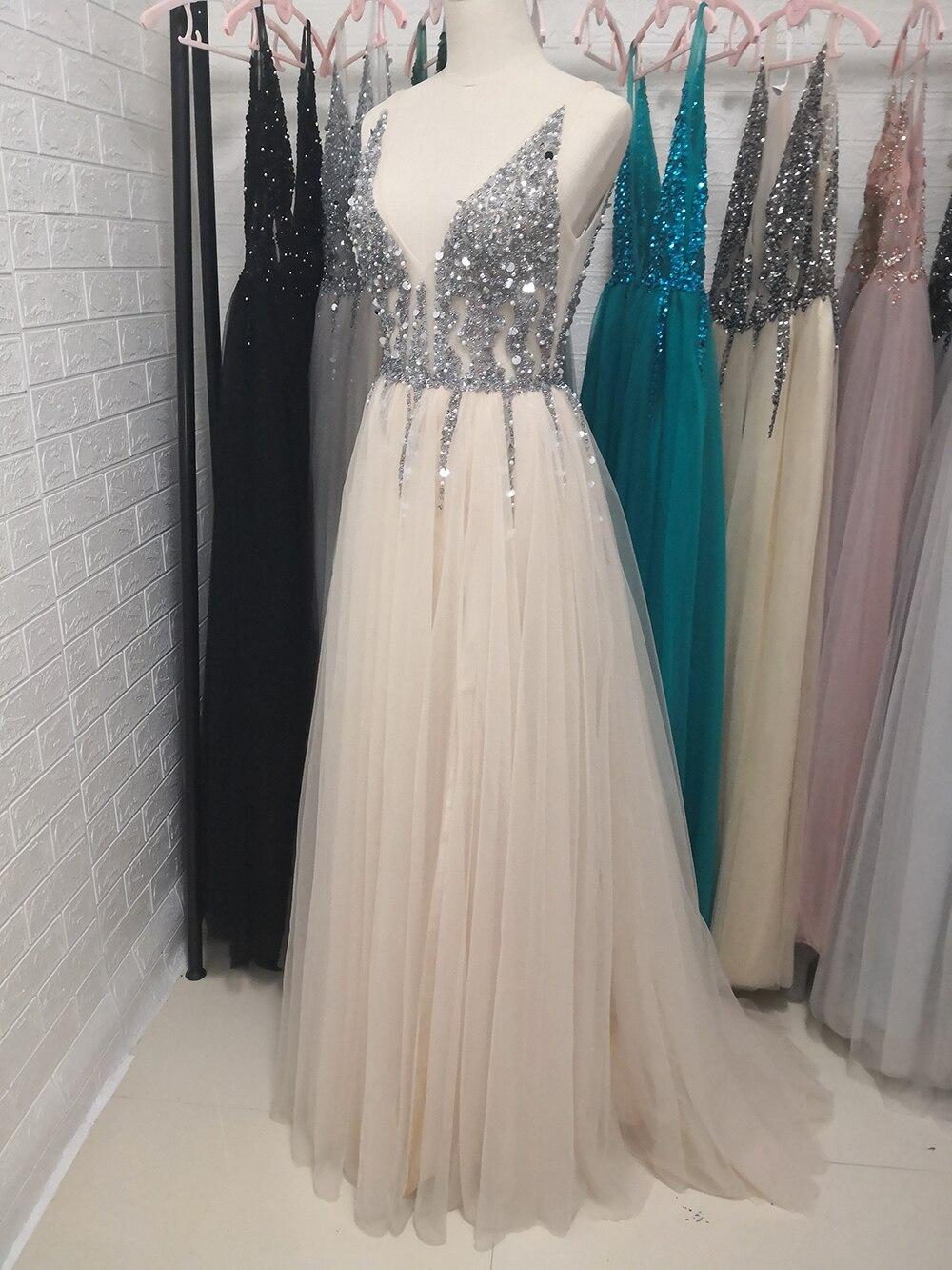 Сексуальное длинное вечернее платье с глубоким v-образным вырезом и разрезом сбоку, Новое поступление года, блестящее платье с высоким разрезом и открытой спиной, Abendkleider Lang - Цвет: Шампанское
