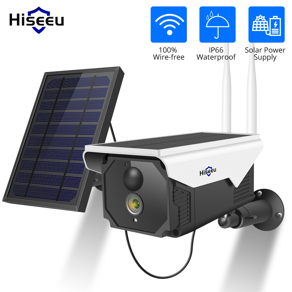 Hiseeu 1080P WIFI Battery Camera IP 2MP Outdoor Rechargeable Wireless IP Camera PIR Detect Waterproof Solar Panel