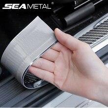 Autocollants de Protection de seuil de porte de voiture en Fiber de carbone et vinyle, bande autocollante Anti-Collision et anti-rayures