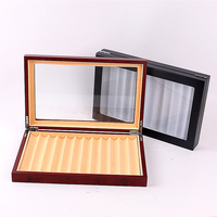 12 Grid Wooden Visible Anti Dust Pen Case Holder Storage Rectangle Travel Wear Resistant Scratch Proof Display Box Glass Lid