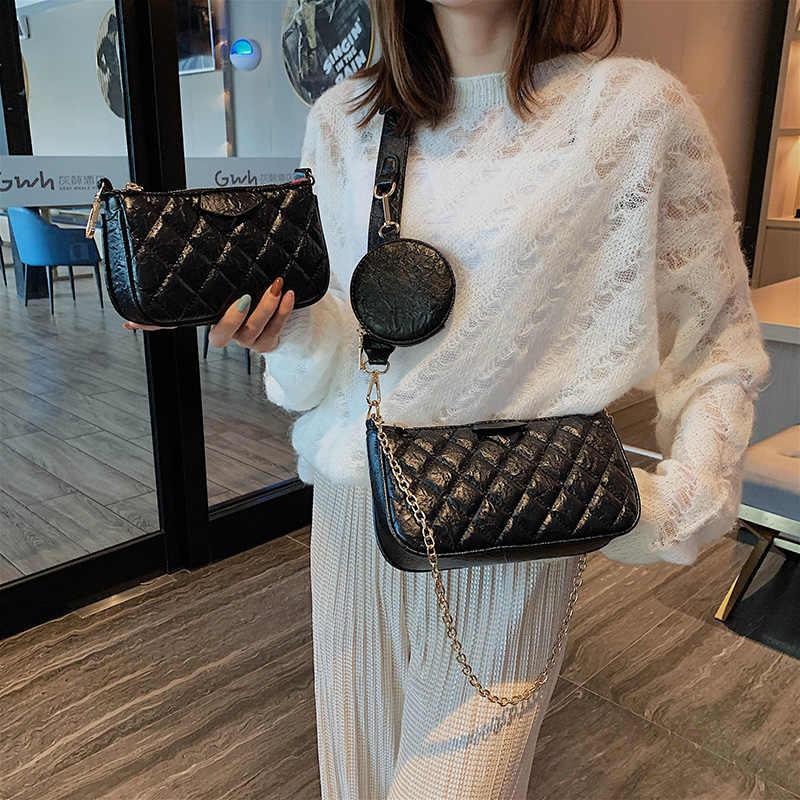 ヴィンテージ格子チェーンショルダーバッグセット女性の高級 Pu レザーチェック柄 Crossbdoy バッグファッション 3 袋ハンドバッグ財布