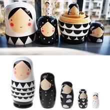 5 pçs conjunto russo bonecas de aninhamento de madeira matryoshka boneca pintados à mão m89c