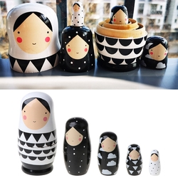 5pcs Set Russian Nesting Dolls Wooden Matryoshka Doll Handmade Painted M89C