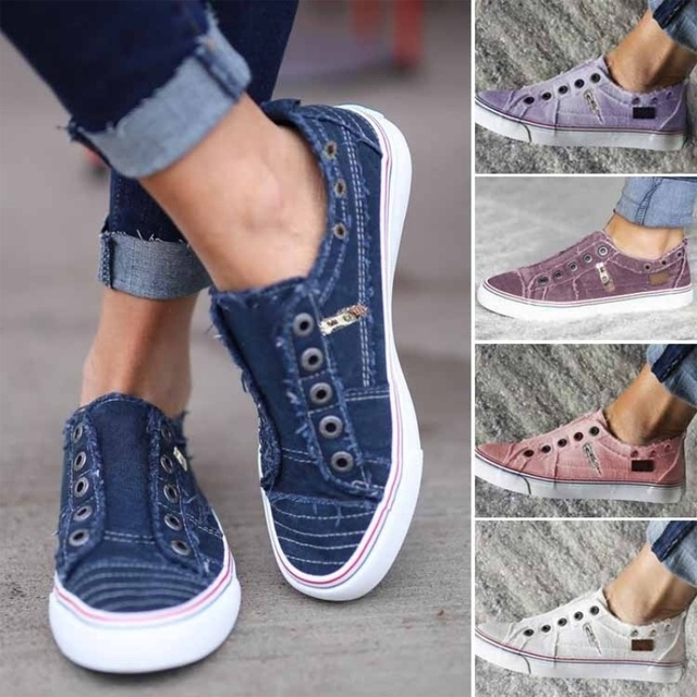 6 Colors Women Comfort Canvas Sneakers Daily Slip-on Flat Shoes Luxury Shoes Women Designers Loafers Zapatos De Mujer Flats Shoe