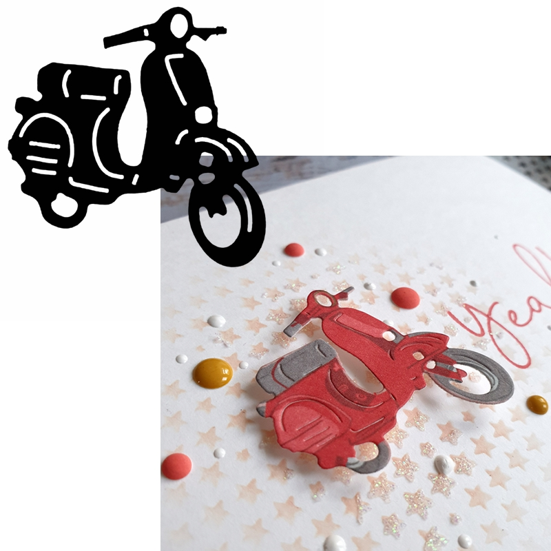 Adorable Motorcycle Metal Cutting Dies Motorcycle Die Cuts For Card Making DIY Scrapbook Album Decoration New 2019 Crafts Cards