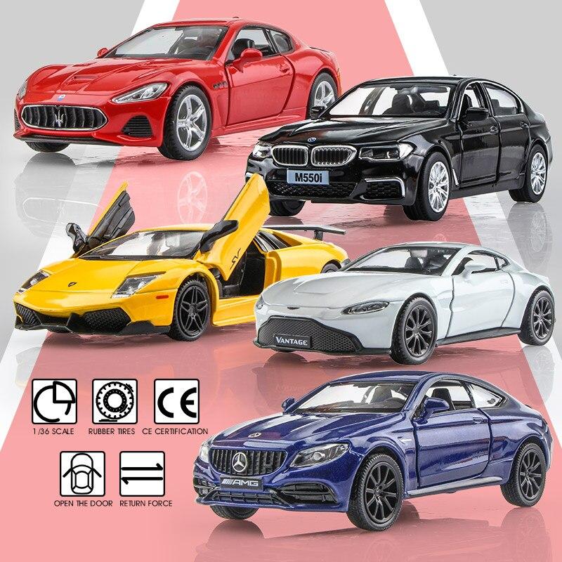Подарок на день рождения, модель автомобиля из сплава 136, имитация изысканного литого игрушечного автомобиля RMZ city, Maserati Aston Martin, открывающиеся двери