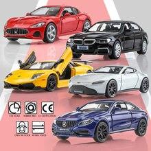 Подарок на день рождения, модель автомобиля из сплава 1:36, имитация изысканного литого игрушечного автомобиля RMZ city, Maserati Aston Martin, открывающие...