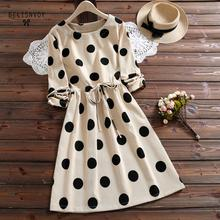 2020 New Japanese Mori Girl Corduroy Dress Women Polka Dot Printed Long Sleeve Slim Waist Vestidos Autumn Winter Dresses