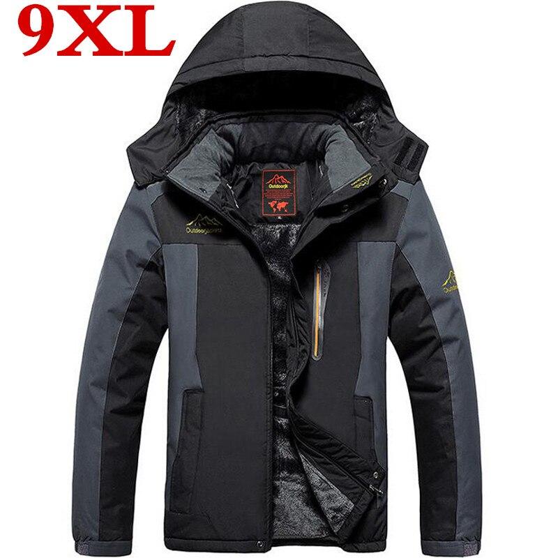 Новая теплая верхняя одежда большого размера, зимняя куртка для мужчин, водонепроницаемая ветрозащитная мужская куртка с капюшоном, теплые