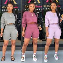 Hot new women sweatsuits lady solid crop top and shorts set female two pieces outfits for women DLD8603(China)