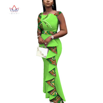 2020 Summer African Dresses For Women Dashiki Women African Print Ankle-length Long Part Dress Plus Size Natural 6xl WY3685