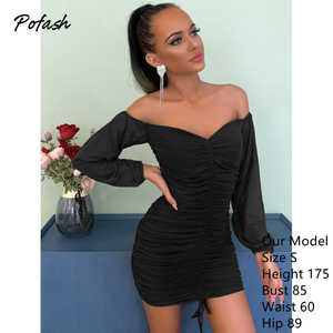 Image 5 - Pofash Ruched Off Shoulder Autumn Dresses Women Sexy V Neck Backless Drawstring Puff Sleeves Mini Dress 2020 Solid Bodycon Dress