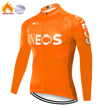 Ineos-Camiseta de manga larga para ciclismo para hombre, maillot térmico y polar...