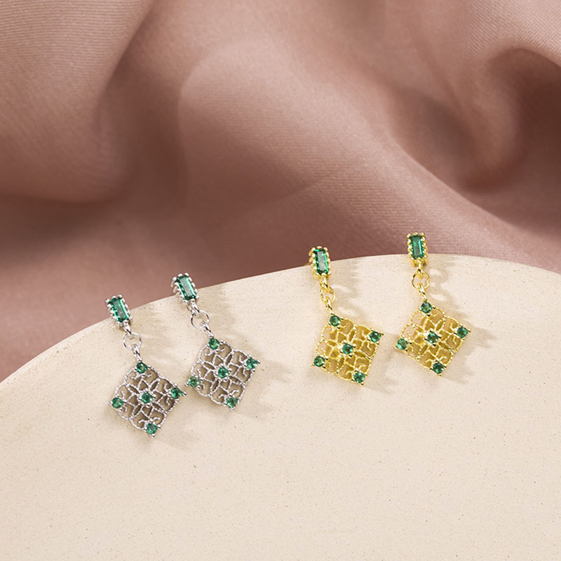 925 Sterling Silver Square Emerald Stud Earrings French Palace Retro Green Zircon Earrings For Women 2019 Luxurious Jewelry Gift