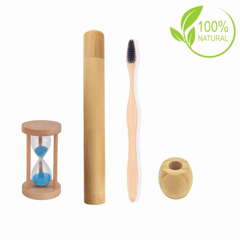 Бамбуковый чехол для зубной щетки, биоразлагаемый чехол для зубной щетки с деревянным таймером и песочным замком