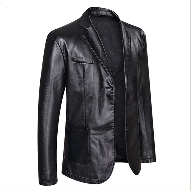 Fall 2021 New Suit Leather Jacket Business Fashion Men's Jacket Men's Slim Fit Leather leather jacket Leather suit for men 3