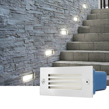 Outdoor White Light Led Step Light IP68 Aluminum Embedded Staircase Corner Lamp Waterproof Recessed Wall Stair Lamp Footlight image
