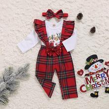 Рождественские комплекты одежды для маленьких мальчиков и девочек, комплект одежды, комбинезон с длинными рукавами, комбинезон, комбинезон, штаны, повязка на голову, комплект для малышей из 3 предметов
