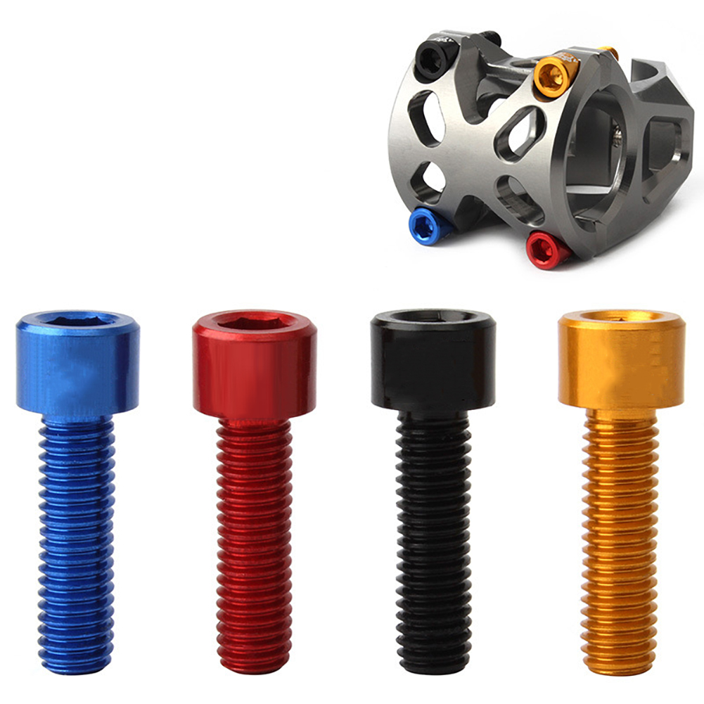 4pcs 7075 Aluminum Alloy M5*17MM Bicycle Handlebar Stem Screws Bolt Mountain Dead Fly Road Folding Bike Handle Riser Screw image