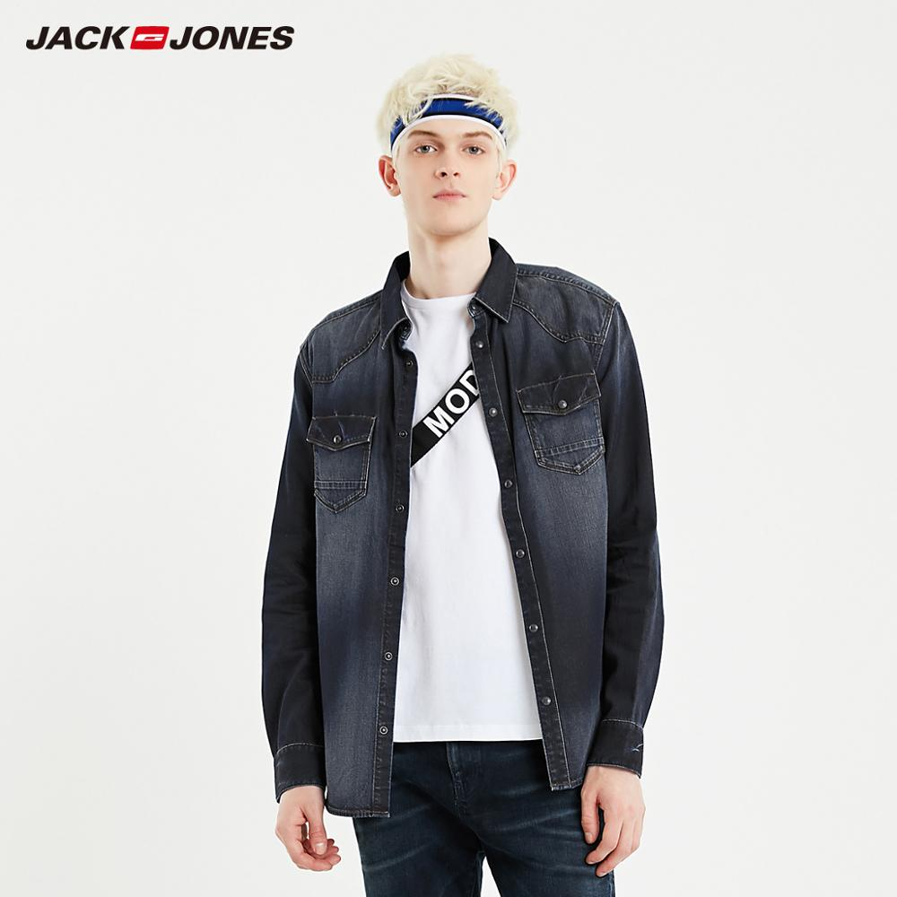 JackJones Men's New Fashion 100% Cotton Casual Long-sleeved Denim Shirt Menswear| 219105528