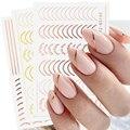 Розовое золото полоски ленты дизайн ногтей полоса линии в виде геометрических фигур 3D ползунок для ногтей Гель-лак Стикеры наклейки для ман...