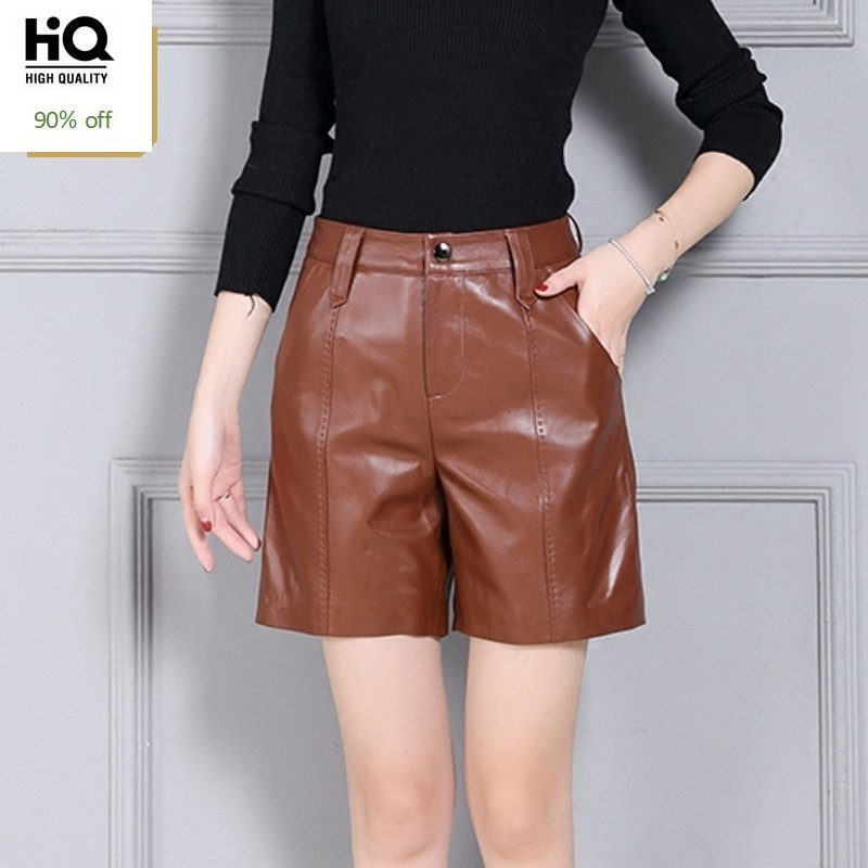 Genuine Leather Fashion Womens Shorts Streetwear High Waist Casual Stretchy Trousers Punk Comfort High Quality Pantalon Female