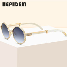 Round Sunglasses Buffalo-Horn Diamond High-Quality Women Luxury Brand Designer for Sumptuous