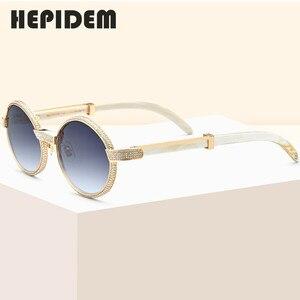 Image 1 - 2020 New High Quality Men Round Sunglasses Brand Designer Luxury Diamond Sumptuous Sun Glasses for Women Buffalo Horn Glasses