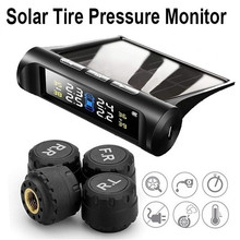Universal Car Solar TPMS Tire Pressure Monitoring System LCD Display Wireless Tire Pressure Detector with 4 External Sensors for nissan careud u912 car wireless tpms tire pressure monitoring system with 4 external sensors lcd display embedded monitor