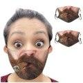 2 шт. усы и борода Модный принт многоразовые Забавный Pm2.5 фильтр для губ маска для лица Ман Борода Усы mascarilla моющиеся C