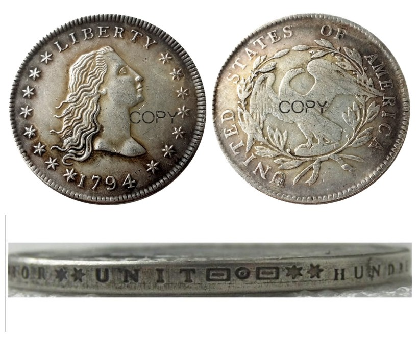 Us 1794 fluindo cabelo dólar prata chapeado cópia moeda