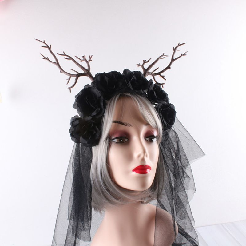 Womens Halloween Christmas Forest Style Headband Artificial Tree Branch Antlers Flower Hair Hoop Cosplay Masquerade Photo Props