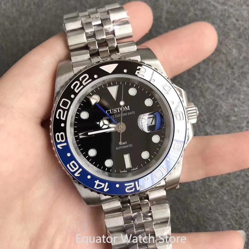 Men's Blue GMT Watch 40mm Sapphire Glass Stainless Steel Ceramic Bezel Luminous Waterproof Men Automatic Mechanical Wristwatches