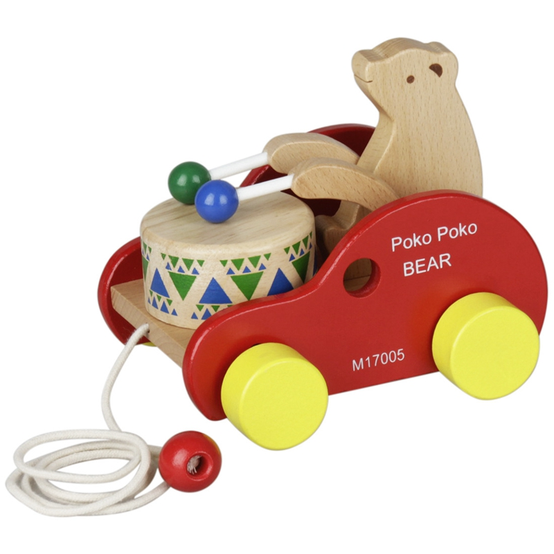 Wooden Bear Drum Pull Along Toy Kids Children Musical Educational Toy Solid Wood Pull Toy For Toddler