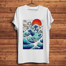 Camisa de t dos homens do estilo de kanagawa do vintage do vintage unisex da camiseta da camiseta