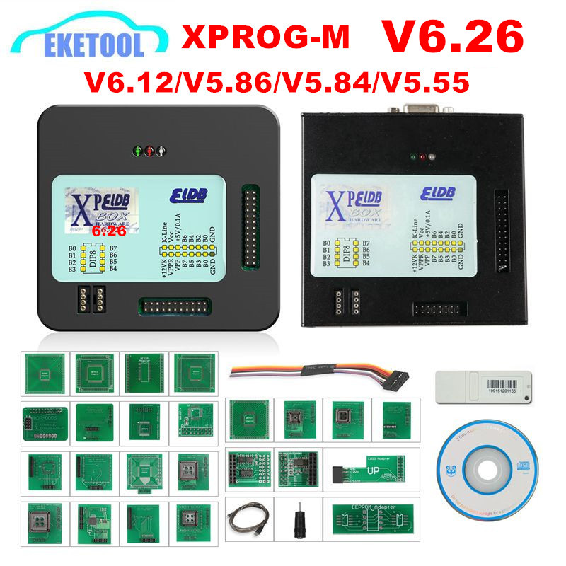 <font><b>XPROG</b></font> V6.26 V6.12 V6.17 V5.86 <font><b>V5.55</b></font> USB Dongle With Full Adapters <font><b>XPROG</b></font>-M Better Than <font><b>XPROG</b></font> V5.60/<font><b>V5.55</b></font>/V5.0 X prog Metal Box image