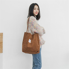 2019 New High Capacity Women Corduroy Tote Ladies Casual Solid Color Shoulder Bag Foldable Reusable Shopping Beach