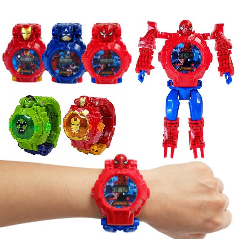 Disney Marvel «Холодное сердце» детские игрушки Аниме часы деформации «Человек-паук», «Железный человек», «Капитан Америка», электронный изображ...