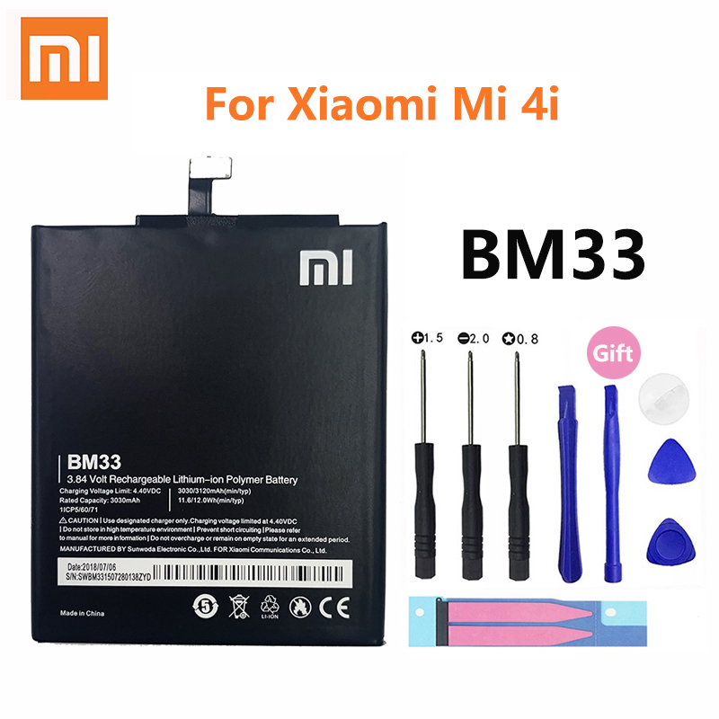 Xiao <font><b>Mi</b></font> Original Phone <font><b>Battery</b></font> BM33 for Xiaomi <font><b>Mi</b></font> <font><b>4i</b></font> Mi4i M4i High Quality 3120mAh Phone Replacement <font><b>Batteries</b></font> image