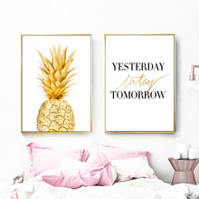 цена на Laeacco Pineapple Wall Art Canvas Posters Prints Nordic Time Quote Paintings Black White Wall Picture for Living Room Decoration