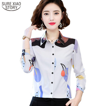 Korean Women Tops and Blouses 2021 Long Sleeve Print Office Lady Blouse Women Spring Elegant Slim Clothes Blusas 8949 50 image
