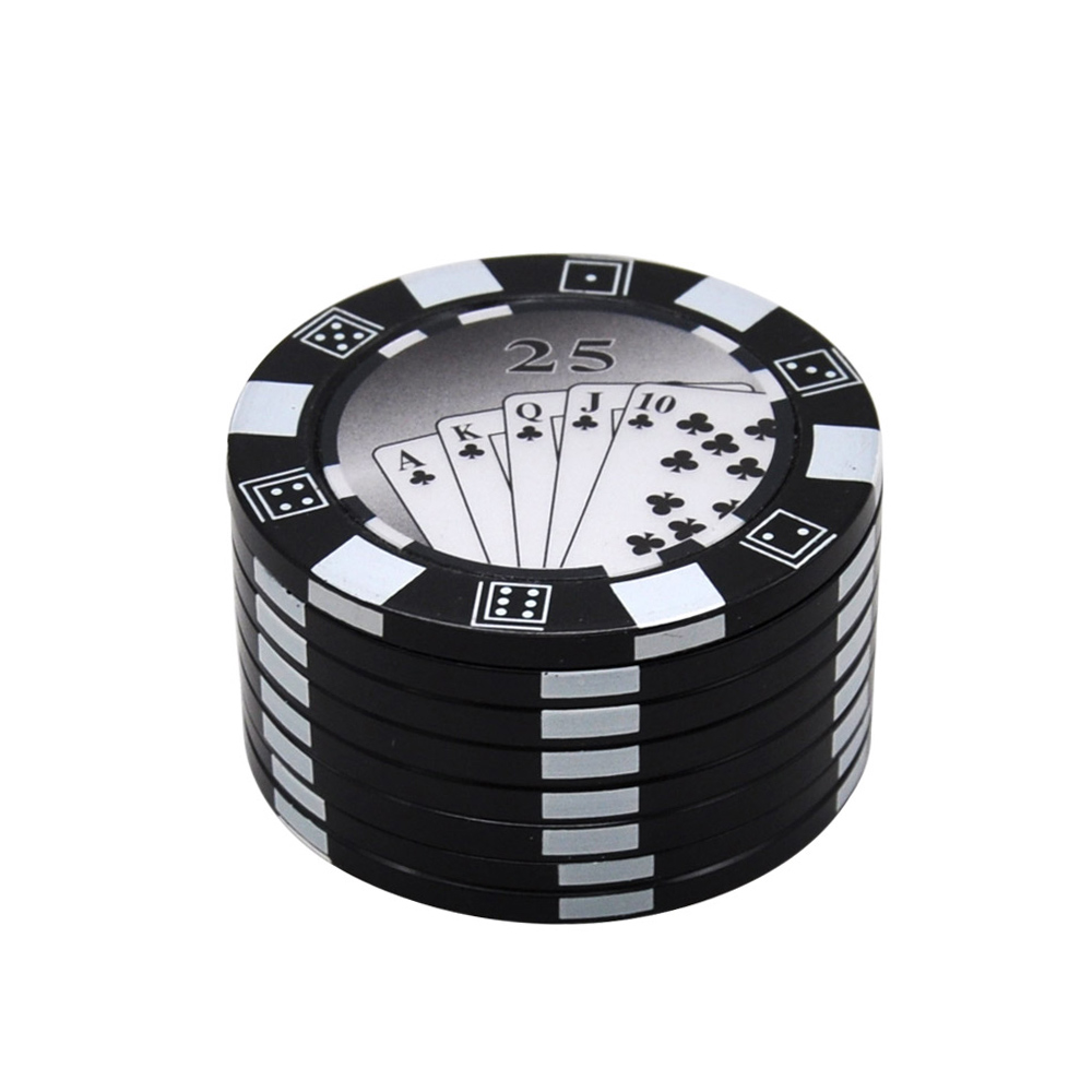 1pc big poker Dia.49mm chip Zinc Alloy metal herb smoking tobacco grinder hand crank herb crusher 3- Layers Poker chips grinder 1