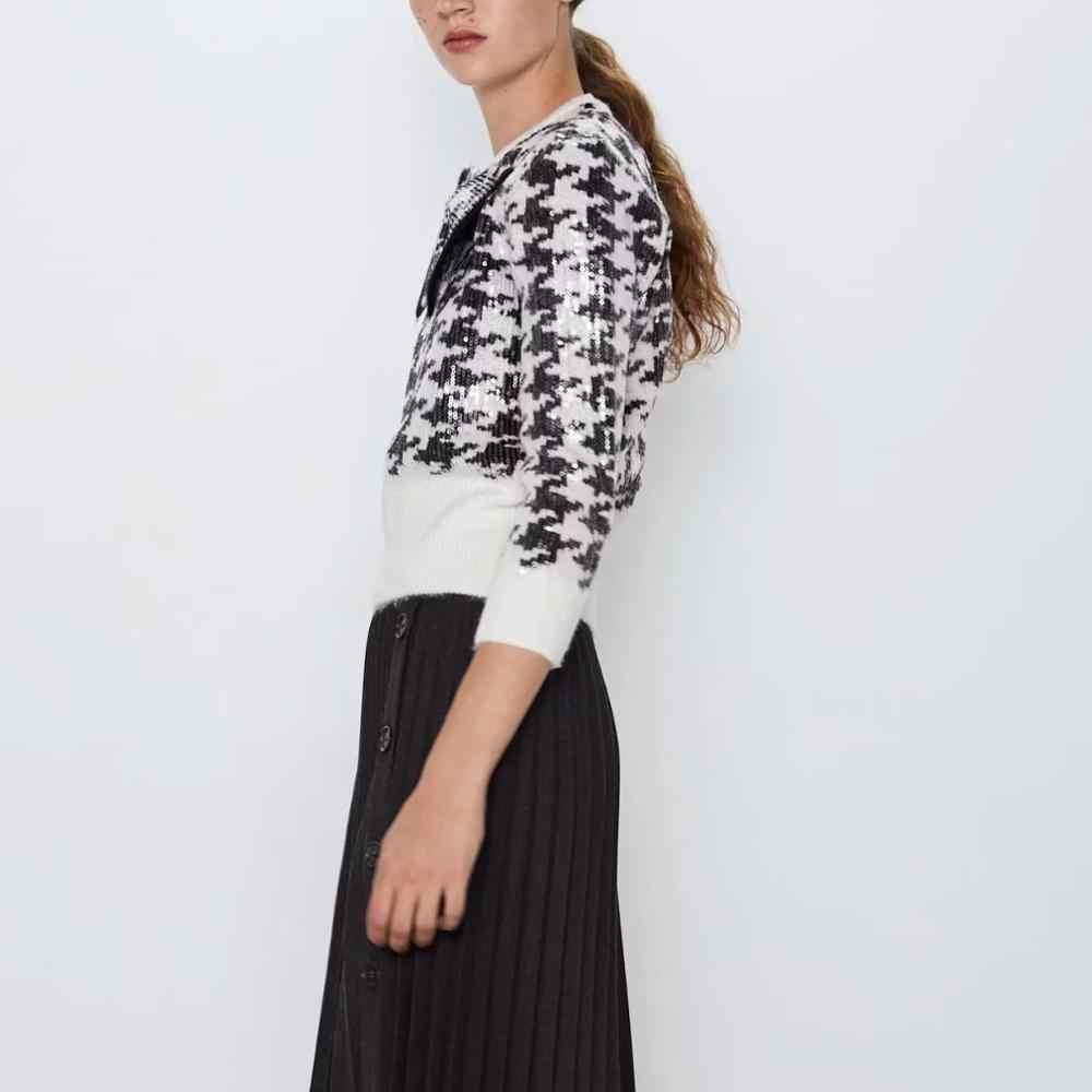 ZA style jesienno-zimowa damska ciepła koszulka z dzianiny z cekinami bowknot sweter damski sweter w stylu casual, damska bluza z kapturem